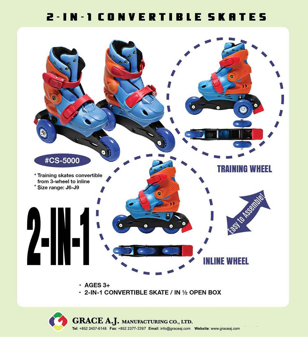 2in1 Convertible Inline Roller Skates for Kids